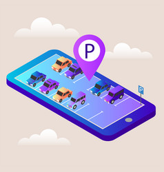 isometric cars in the car parking mobile vector image