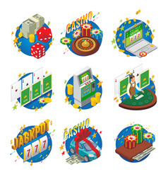 Isometric casino composition vector