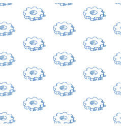 isometric cogwheels background outline isometric vector image