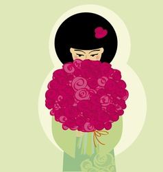 japan girl with flowers vector image