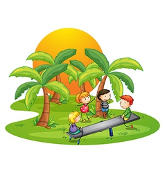 Kids playing seesaw near the coconut trees vector