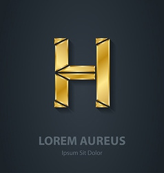 Letter H elegant gold font Template for company vector