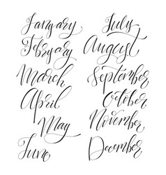 lettering set of months vector image