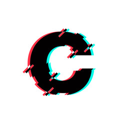 Logo letter c glitch distortion diagonal vector