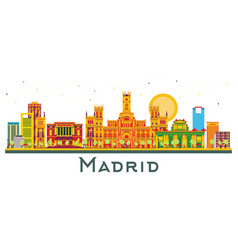 madrid spain city skyline with color buildings vector image