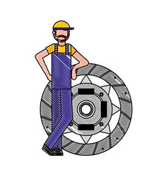 Mechanic worker with clutch plate vector