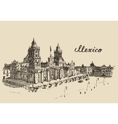 Mexico city metropolitan cathedral sketch vector