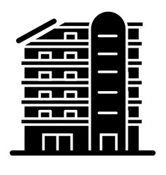 Multistory house solid icon building vector