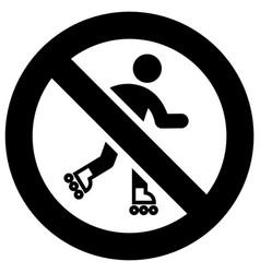 No roller skating forbidden sign modern round vector