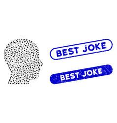 Oval mosaic head brain with distress best joke vector