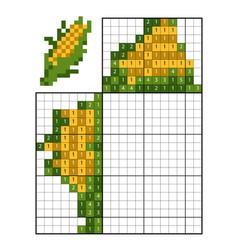 paint number puzzle nonogram corn vector image