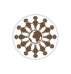 Paper sticker on white background people of earth vector