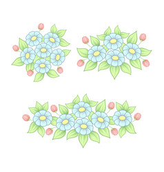 pastel daisy elements set vector image