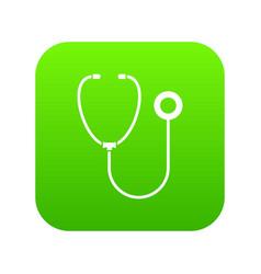 phonendoscope icon digital green vector image