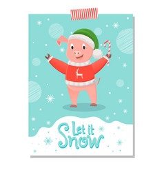 pig in red sweater with reindeer green hat candy vector image