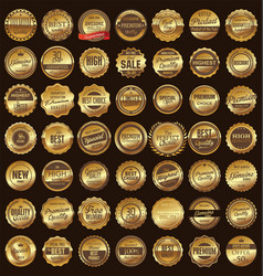 quality golden badge collection vector image
