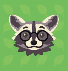 Racoon emotional head of cute vector