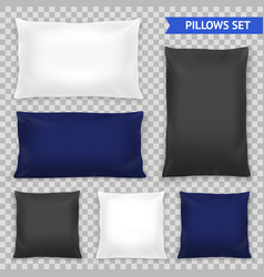 realistic pillows top transparent set vector image