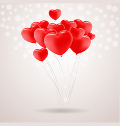 Red festive balloons in shape of heart isolated on vector