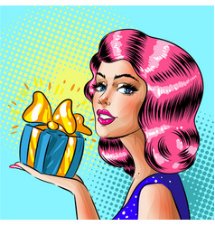 Retro pop art woman holding gift box vector