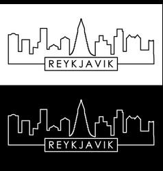 reykjavik skyline linear style editable file vector image