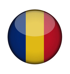 romania flag in glossy round button of icon vector image