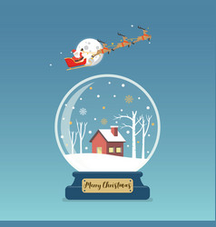 santa claus in sleigh over christmas glass vector image