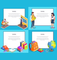 School 3d set with various icons vector