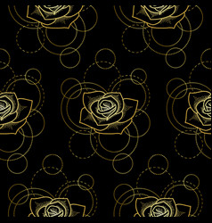 Seamless pattern with gold rose and circles on vector