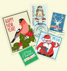 set christmas postal stamps vector image