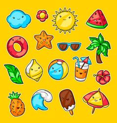 set cute kawaii summer items vacation and vector image