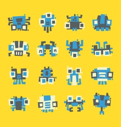 Set of simple minimal flat robot characters vector