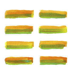 Set of watercolor pastel orange and green brushes vector