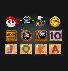 Set pirate icons for slot machines vector
