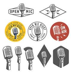 Set vintage retro microphone emblems logos vector