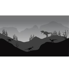 Silhouette of eotaptor and T-Rex vector image