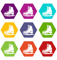 skates icons set 9 vector image