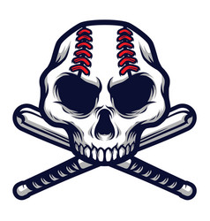 skull with crossed baseball bat logo badge vector image