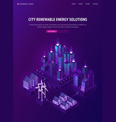 smart city renewable energy solutions web banner vector image