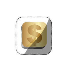 Sticker golden square 3d button with dollar symbol vector