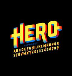 super hero style comics 3d font vector image