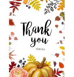 Thank you greeting card postcard autumn design vector