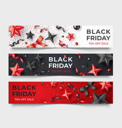 three black friday horizontal banners with vector image
