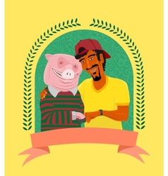 Vegetarian and pig vector