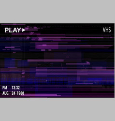 Vhs video effect with glitch vector