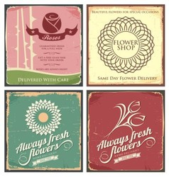 Vintage set of metal tin signs for flower shop vector