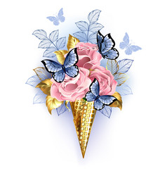 waffle cone with pink roses vector image