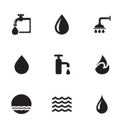 Water icons set vector