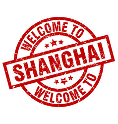 Welcome to shanghai red stamp vector