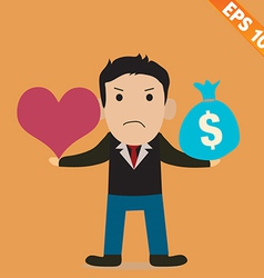 Cartoon businessman with love and money - - vector